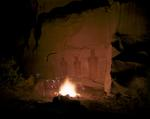 Steve Fitch: Campfire in Front of Pictographs, Sego Canyon, Utah; October 4, 1984